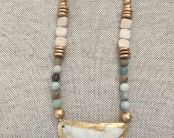 Handcrafted Gold Leaf Oyster Shell Necklace