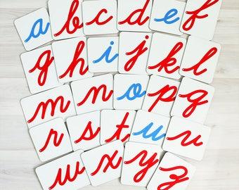 Montessori alphabet cards - Lowercase Felt Letters: Cursive - Hardboard