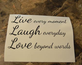 Live Laugh Love Motivational Style Vinyl Decal