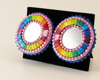 Rainbow Quilled Earrings on Blue Leather