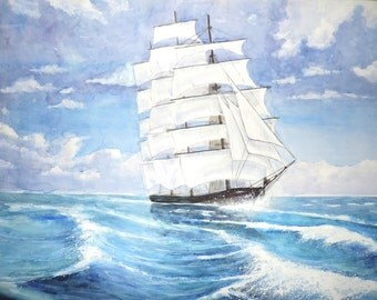 """Painting """"Through The Waves"""" Watercolor Painting"""