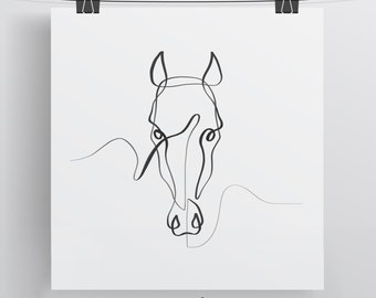 Horse Wall Art, Horse Print, Horse Gift, Horse Portrait, One Line Drawing, Minimal Horse Art, Equine Art, Equestrian Art, Single Line