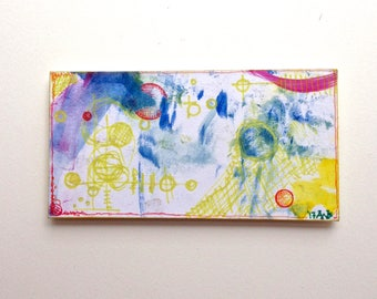 OOAK mini painting magnet, Primary Rectangle Cooperative Miniature