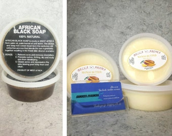 1 African Black Soap & 1 Mango Butter  8 oz - COMBO