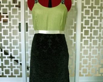 Black velvet evening gown with green silk - Medium size