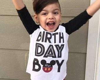 Birthday Boy Mickey Mouse Personalized Raglan Shirt, Mickey Birthday, Birthday Boy Shirt, Boys Clothing, Toddler Birthday Shirt, Kids Clothe