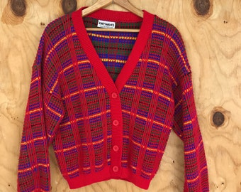 Vintage Knitwaves Cardigan Sweater|| 1980's Style || Neon Red || with Checkered Pattern
