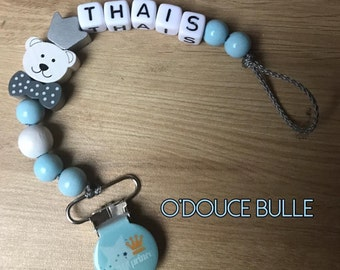Very light blue and white Teddy bear pacifier attachment customizable