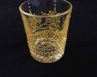 Henna Inspired Hand Painted Silver Shot Glass