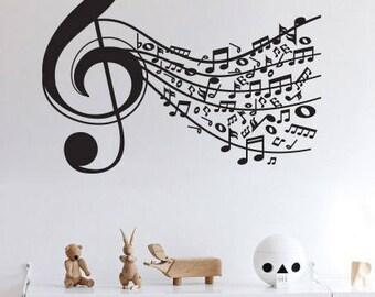 Music Note Sound Wall Sticker Decal Vinyl Interior Design Stylish
