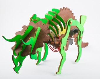 Wood dinosaur toy DIY Kit With motor,walking dino, Father and child Gift, educational kit. DIY Kit Birthday Gift For Him,triceratops diy kit