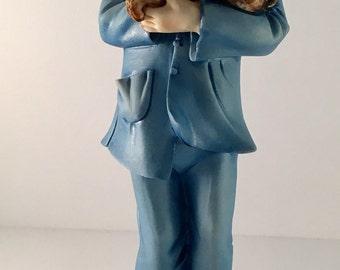 SALE Italian Cortese Capodimonte Blue Boy with Rabbit