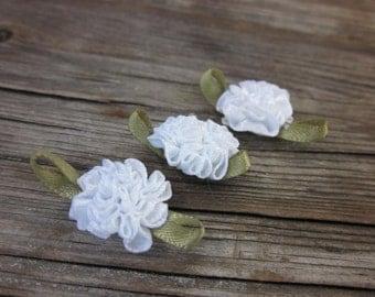 White satin flowers // Decorative sew on flowers //