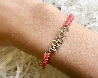 Handmade Bracelet for Her with Wish charm, Friendship Bracelet