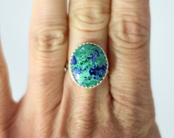 Gorgeous Malachite Azurite // Sterling Silver Ring // Handmade // Size 5.75