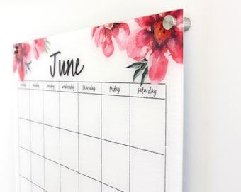 Acrylic Calendar -  Dry erase calendar - Lucite calendar - Magnetic calendar - Family calendar - Delightful Poppies