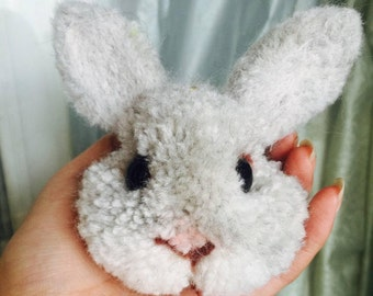 Fluffy Rabbit Head keychain (cell phone chaining)