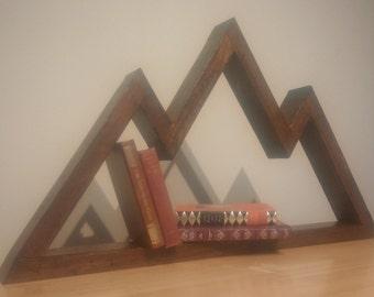 Floating Mountain Shelf HandMade Rustic Reclaimed Wood Walnut Satin Varnished