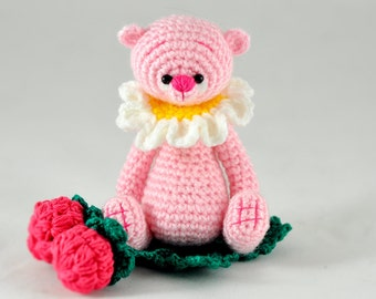 Pink knitted bear Pink toy bear Knitted teddy bear Toy bear - raspberry Crochet bear Teddy bears for sale Knitted teddy - raspberry