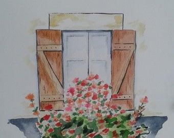 Watercolor art window with flowers