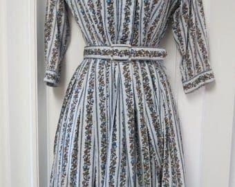 Vintage 1950s Blue Floral A-Line Swing Sundress XS/S