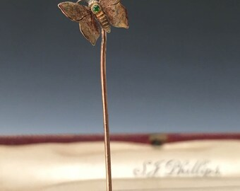 Butterfly Stick Pin in Gold and Green Garnet (c. 1880)