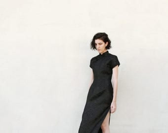 Vintage Black Oriental Style Satin Midi Dress S/M