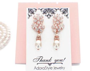 Bridal pearl drop earrings, Rose gold, cubic zirconia earrings, bridal crystal earrings, pearl wedding earrings, wedding jewelry, bridesmaid