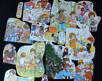 Colour Book Illustrations Upcycled 1970's Vintage Hand Cut Scraps Grab Bag for Scrapbooking, Junk Journalling, Collage, Decoupage
