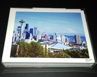 12 Northwest Photo Note Cards, Photography, Pacific Northwest, Seattle, Space Needle, Mt. Rainier, Sunset of Puget Sound