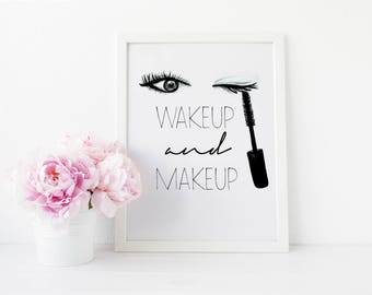 Modern Makeup Vanity, Black and White, Makeup Vanity, Digital Download