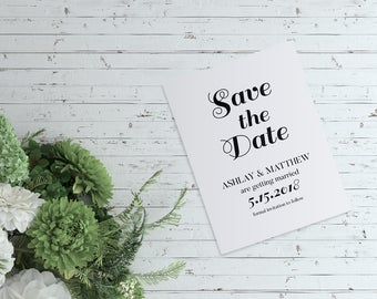 Printable Save the Date Card, Custom Save the Date  Card, Personalize Save the Date, Wedding Announcement Card, Minimalist Save the Date
