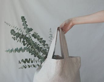 Linen Market Bag Tote Bag Reusable