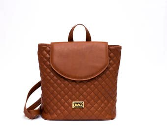 Saddle Brown Quilted Backpack / Gold Metallic Details