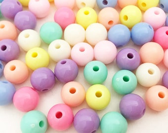 6/8/12/20mm Pastel Round Beads - Assorted Colors Chunky Beads Small Beads Resin Jewelry Making Craft Supplies