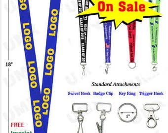 100 Pcs PERSONALIZED Lanyard Printed Lanyards Top Quality Polyester w/ 1 color LOGO/TEXT Custom Lanyards