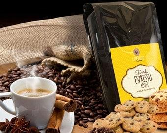Dark Roast Espresso Coffee Beans Strong Ground Coffee Fresh Roasted Small Batch Single Origin Strong Beans Free Ship 12 oz Ladybug Goodies