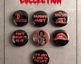 "Rocky Horror Picture Show  1"" Pinback Buttons -- Set of 7 -- Button Sets, Horror Buttons, Custom Buttons"