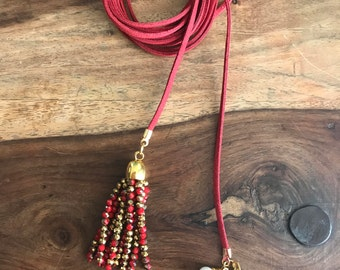 Red suede choker necklace
