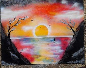 ORIGINAL - Fantasy Sunset Painting