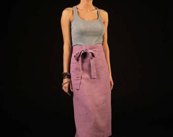 Linen long half apron / Casual linen apron / Large linen apron / lilac