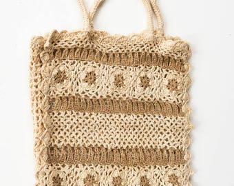 Crocheted bag. Crocheted handbag. Beige crocheted bag. Beige crocheted handbag.