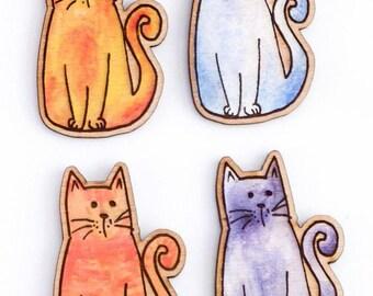 Cat wooden brooch