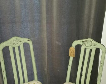 Olive green shabby chic chairs