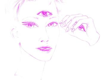 Female third eye dreamy pink