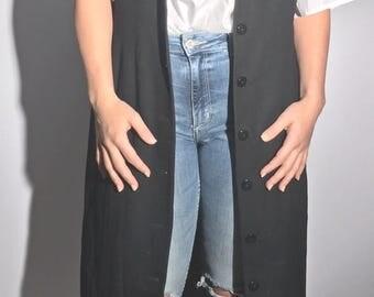 Black Vintage Floor Length Vest Button Up Dress