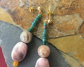 Copper and Stone with Teal Earrings