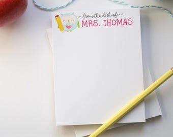 Teacher Notepad - Teacher Appreciation Gift - Teacher Personalized Gift - Back to School Teacher Gift - Style: Little Owl