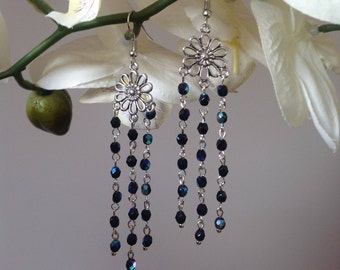 Blue chandelier earrings crystal earrings long earrings dangle earrings drop earrings