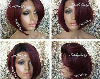 Short Straight Burgundy Red Lace Front Wig - Bob Wig - Human Hair Blend - Dark Roots - Swiss Lace - Heat Resistant Safe